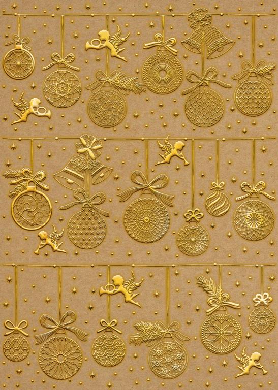Dekoratyvus kartonas Ursus A4/250g Christmas 01F auksinė