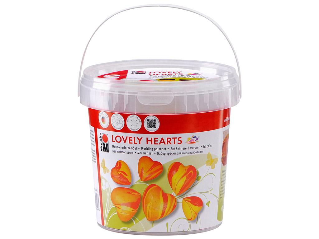 Marmoriseerimisvärv 3x15ml+9 südant+9 puupulka Lovely Hearts