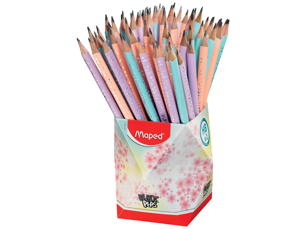 Graphite pencil BlackPeps Pastel HB with eraser 72pcs in pot