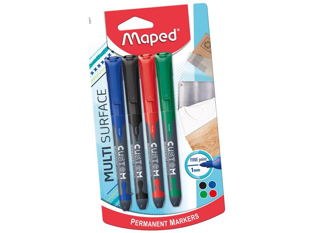 Marker Maped Custom F 1mm 4vnt. blister.