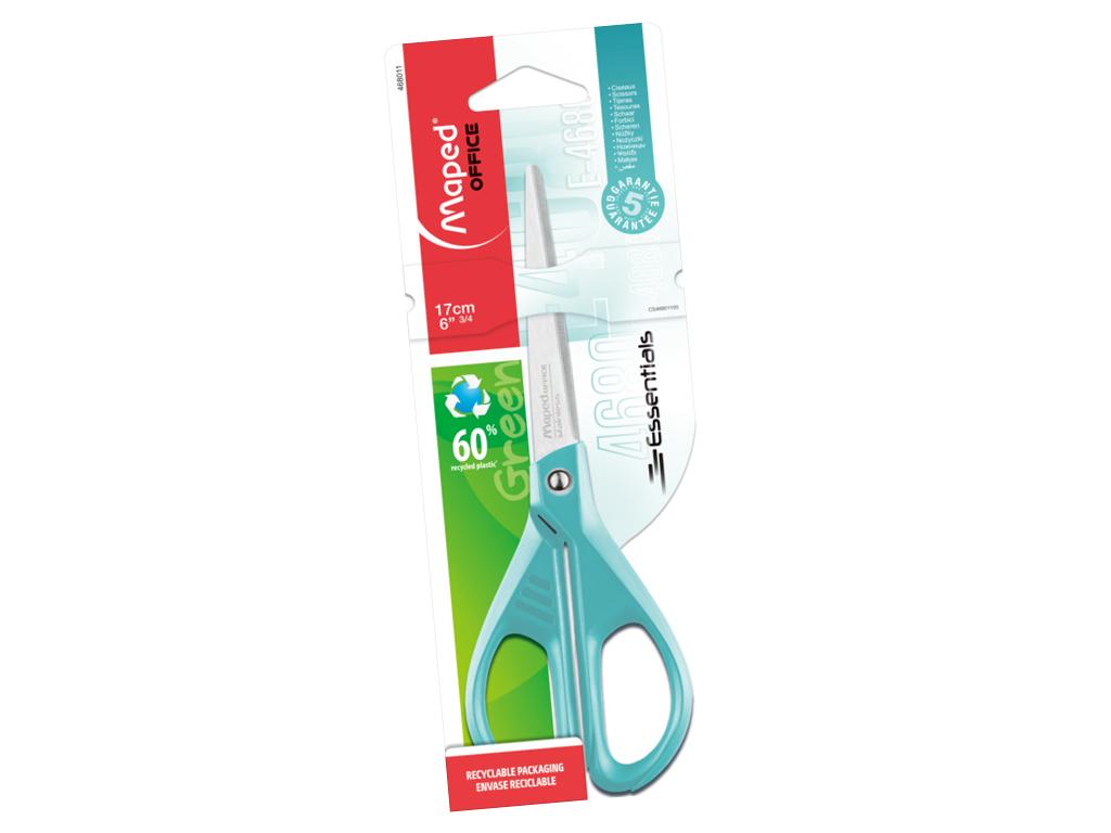 Scissors Essentials Green 17cm mint blister
