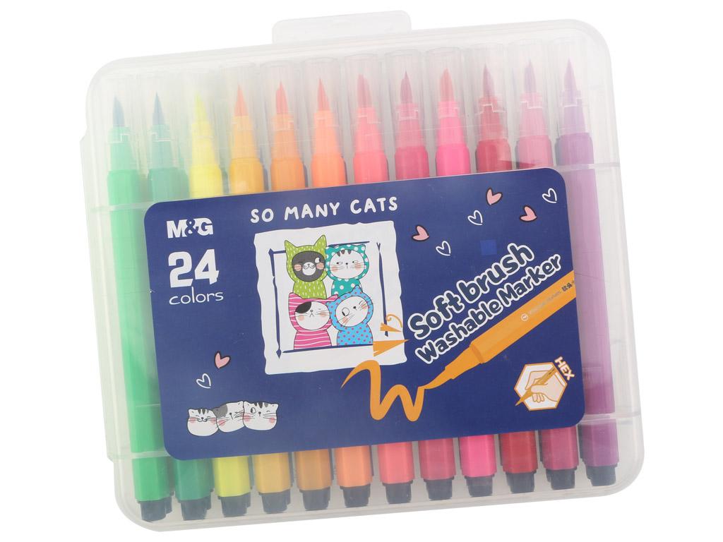 Flomasteris M&G So Many Cats Brush 24vnt. plastikinė dėžutė