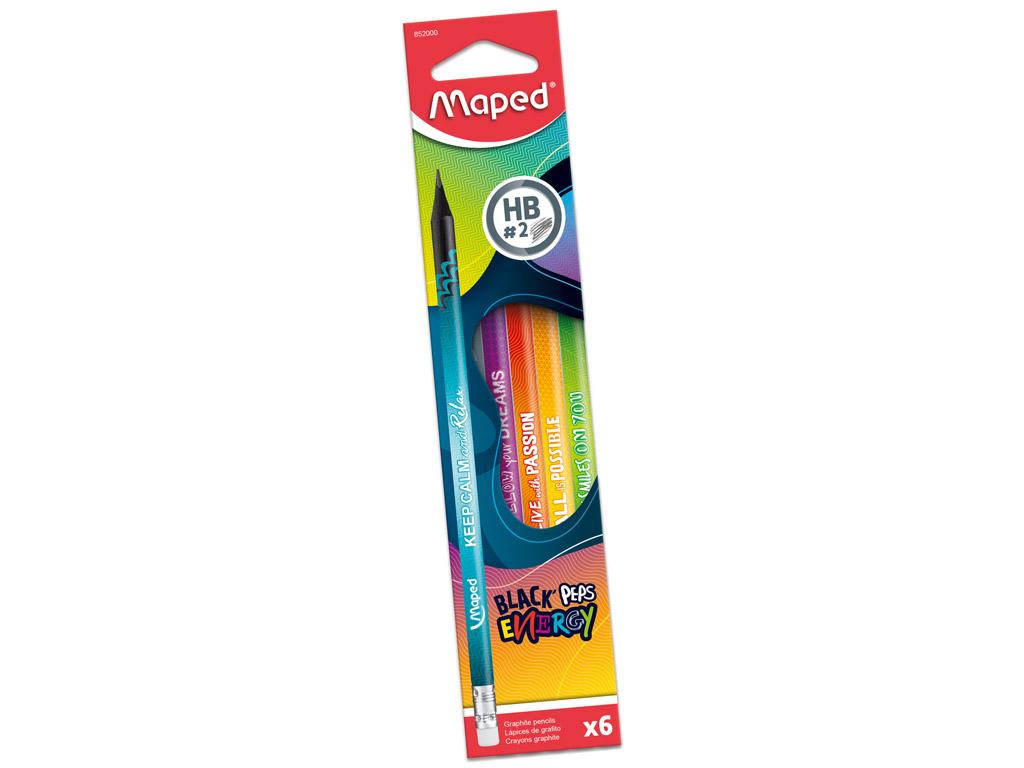 Pieštukas BlackPeps Energy trikampė HB su gumele 6vnt. blister.