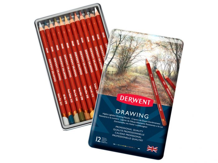 Round drawing pencils Derwent in metal box - 1/2