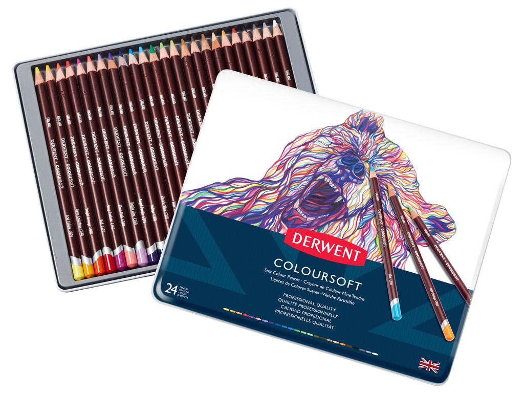 Colour Pencils Derwent Coloursoft In Metal Box Vunder