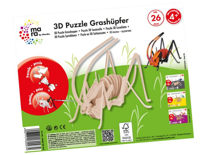 Wooden 3D puzzle Marabu Kids insects - 1/3