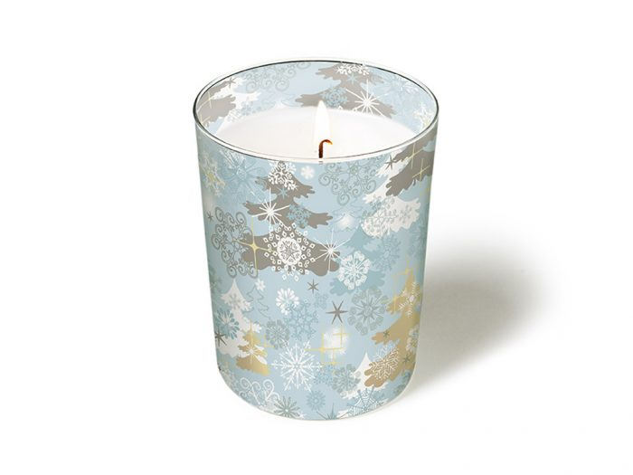 Candle with glass Paper+Design round d=8.5cm h=10cm winter/Christmas