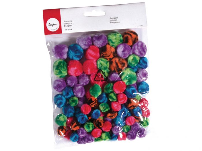 Pompons Rayher mixed colours and sizes