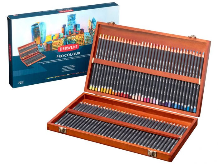 Colour pencils Derwent Procolour in wooden box - 1/5