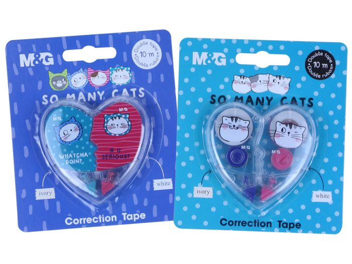Korrektuurroller M&G So Many Cats valge+elevandiluu