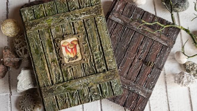Maria Lillepruun mixed media puiduimmitatsiooniga märkmik
